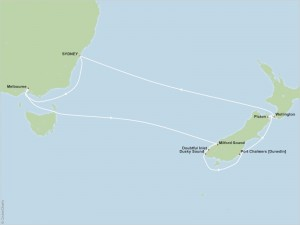 map of 11-night cruise from Sydney, Australia to New Zealand